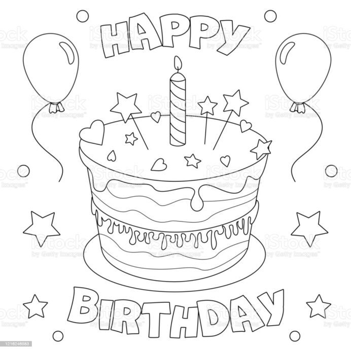 birthday cake coloring illustrations clip art easter egg decoration paper le shuttle coloring pages Coloring Page Birthday Cake