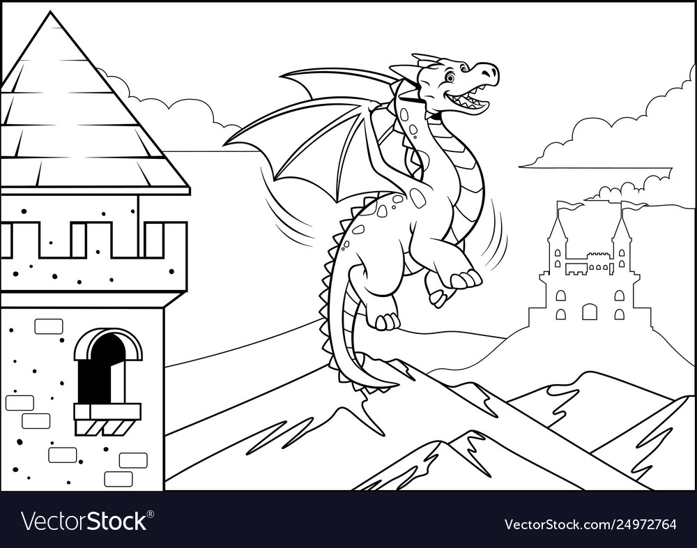 black and coloring dragon in castle vector image easter egg crafts adults color cardstock coloring pages Coloring Page Castle