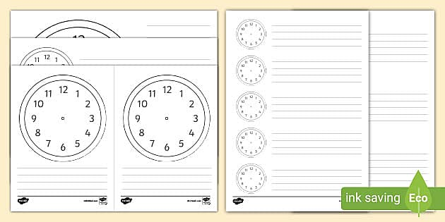 blank clock templates telling the time resource free printable template t2 ver princess coloring pages Free Printable Clock Template