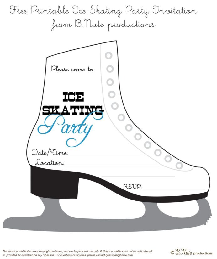 bnute productions free printable ice skating party invitation skate invitations coloring coloring pages Free Printable Skating Party Invitations