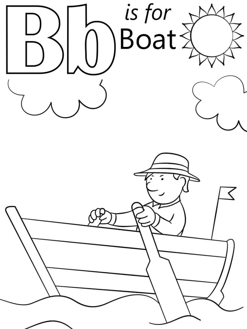 boat letter coloring free printable for kids pyramids lesson plan circular calendar math coloring pages B Coloring Page