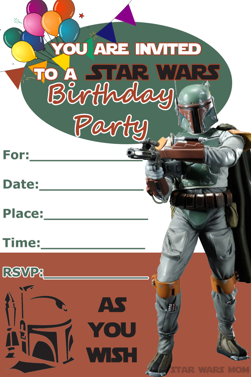 boba fett free birthday party invitation star wars the mom parties recipes crafts and coloring pages Star Wars Invitation Printable Free