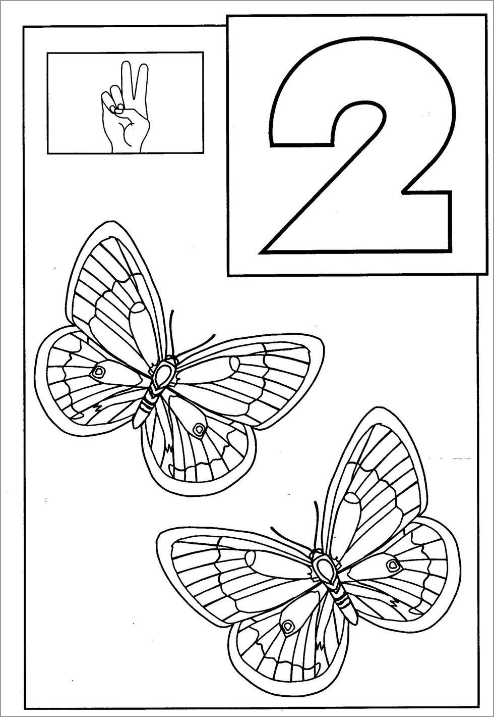 butterflies coloring coloringbay number cursive text butterfly minnie mouse crayola dry coloring pages Number 2 Coloring Page