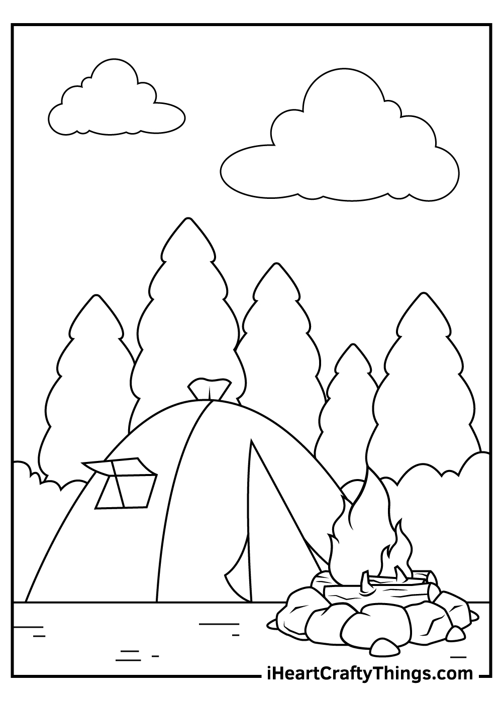 camping coloring heart crafty things treats sheet play based pet art color for teens coloring pages Camping Coloring Page