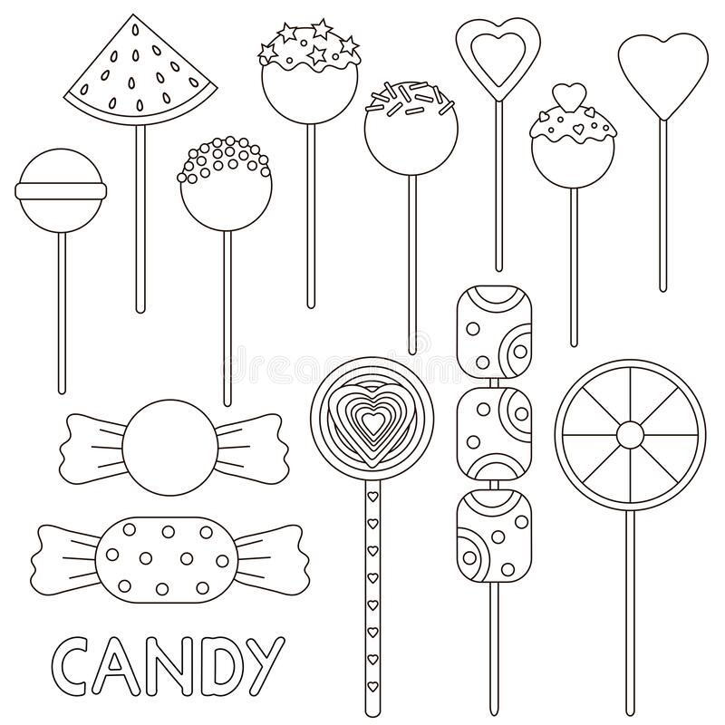 candy coloring stock illustrations vectors clipart dreamstime candies set vector coloring pages Cotton Candy Coloring Page