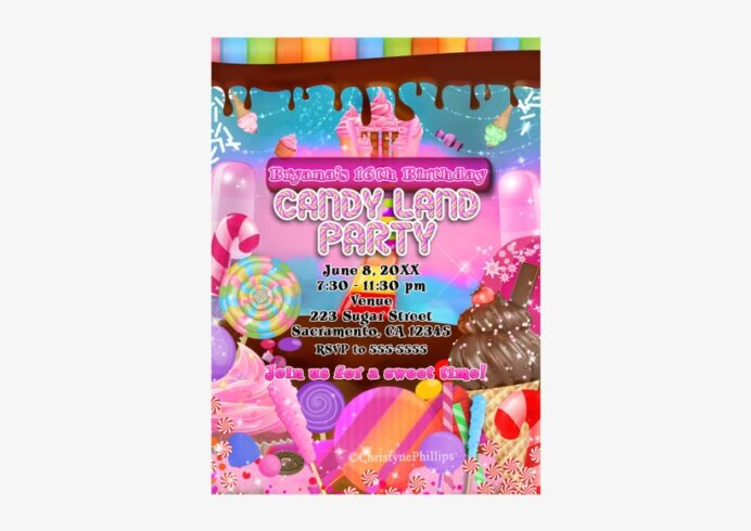 candy land sweets birthday party invitations flyer transparent 500x500 free on nicepng coloring pages Free Printable Candyland Invitations