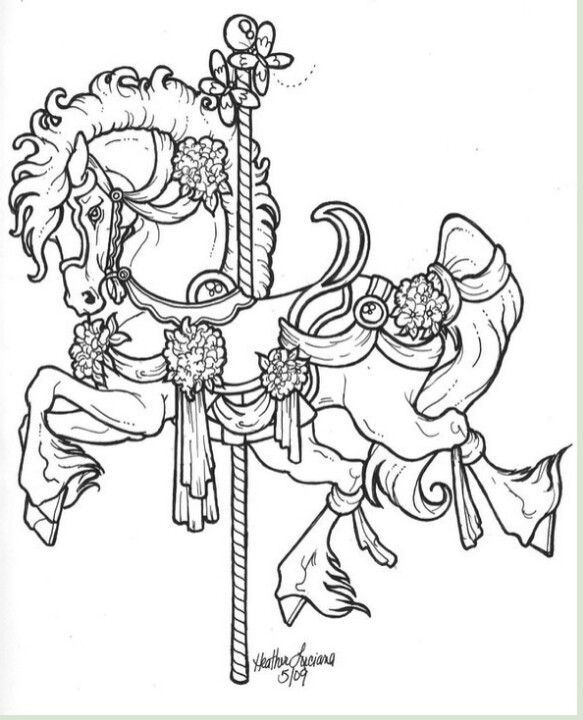 carousel horse coloring tattoos free yhankgiving printable animals to color handmade coloring pages Carousel Horse Coloring Page