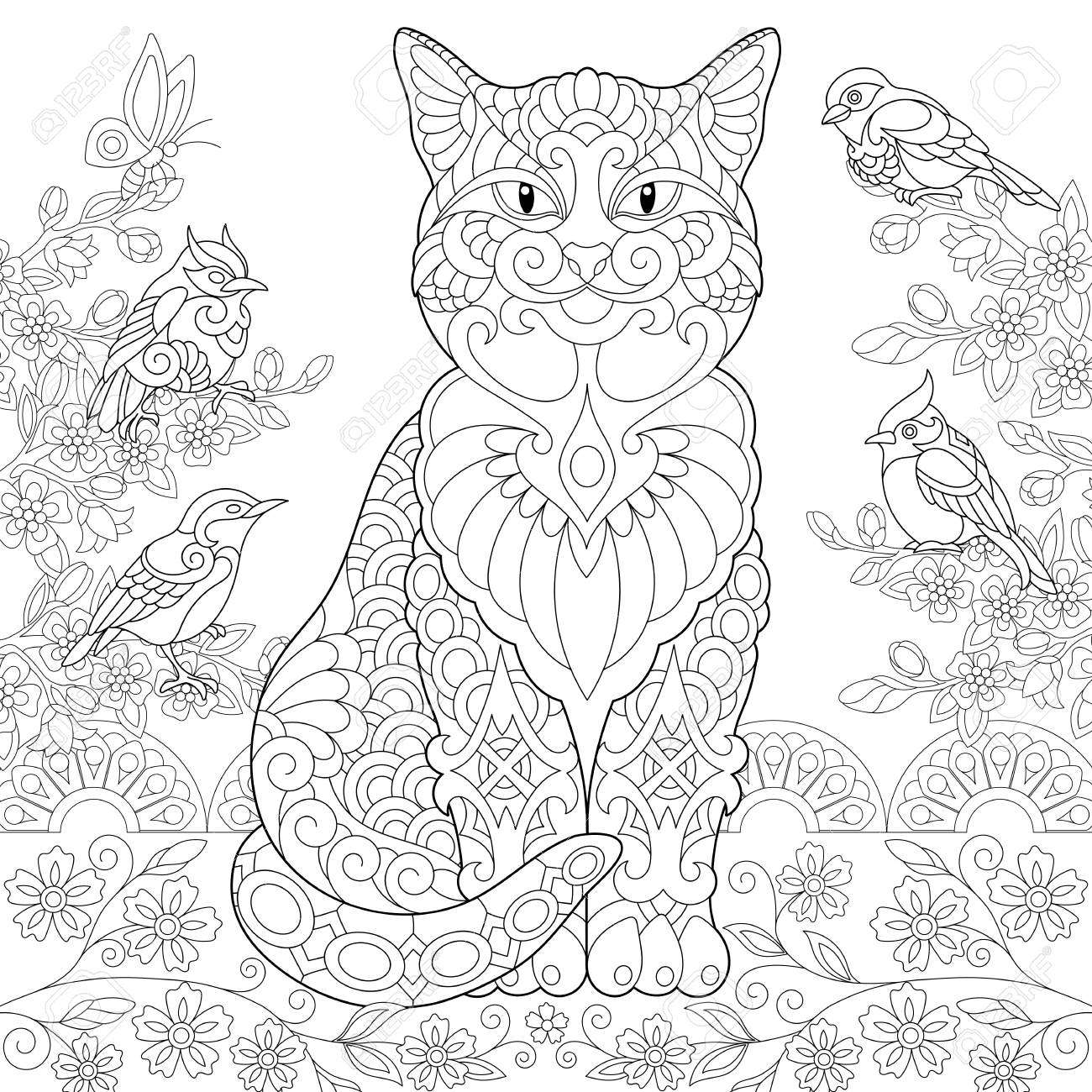 cat and spring birds in the coloring colouring adult book idea freehand sketch drawing coloring pages Adult Coloring Page Cat