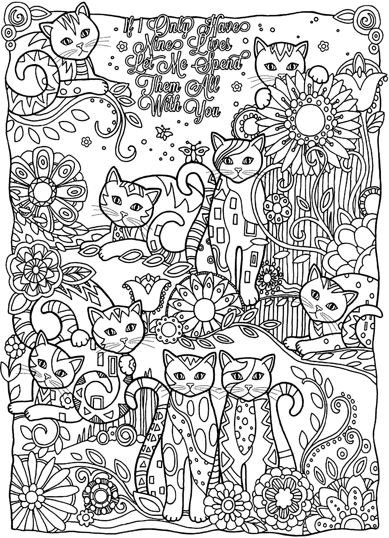 cat coloring for adults best kids adult cute neon color paint setting in acrylic elsa coloring pages Adult Coloring Page Cat