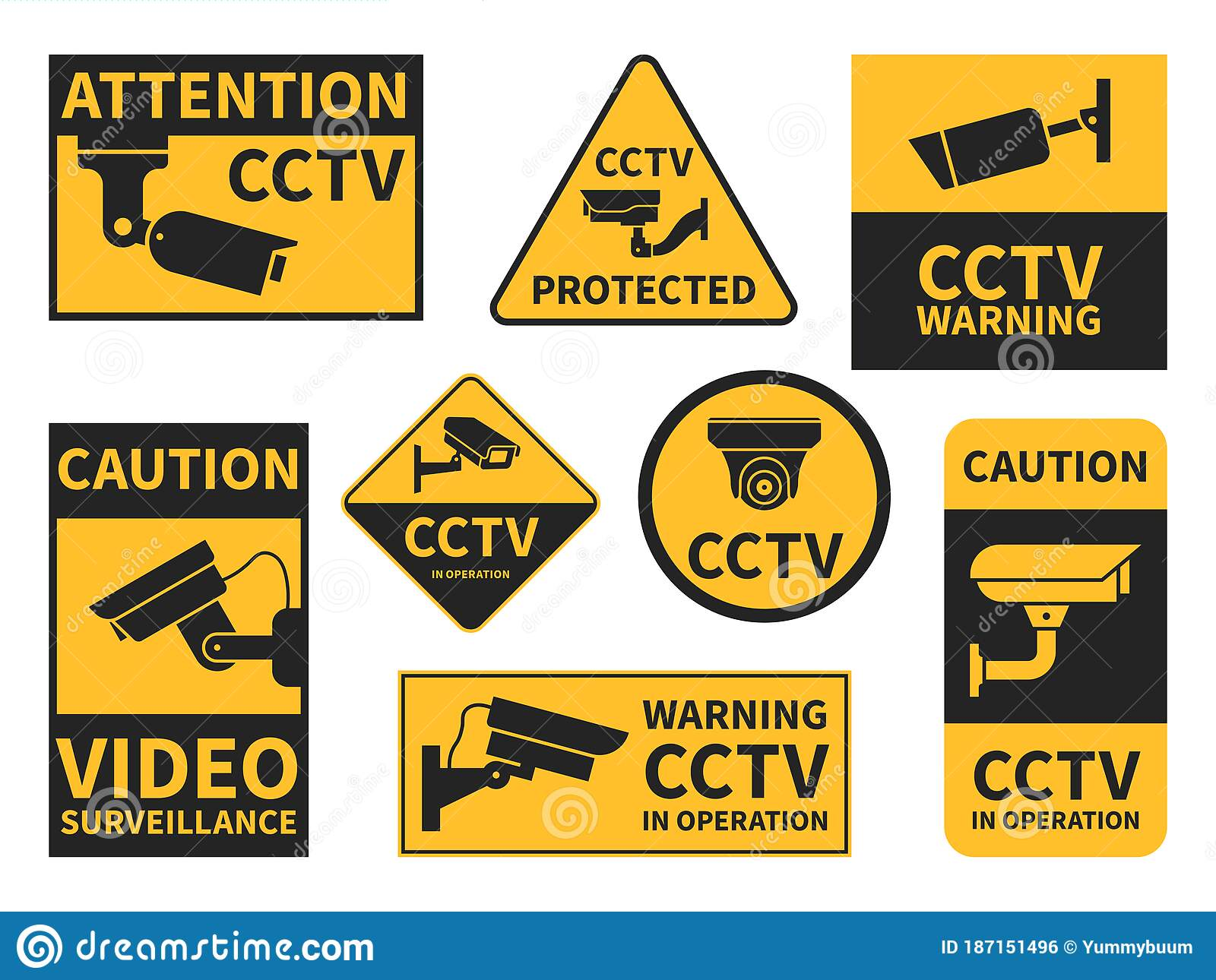 cctv stickers various security camera equipment surveillance for street home and building coloring pages Video Surveillance Signs Printable Free
