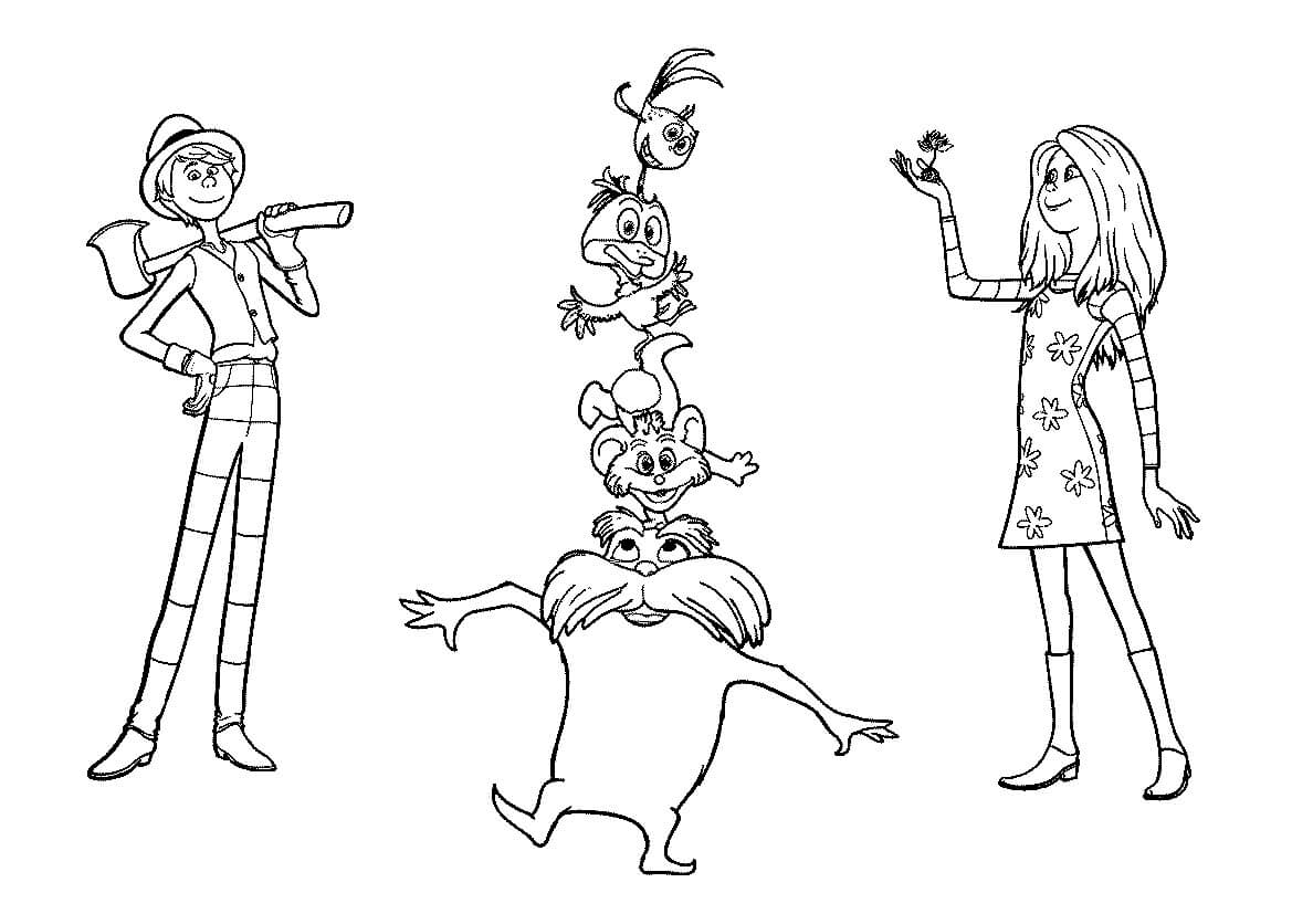 characters the lorax coloring free printable for kids disney giant adinkra cloth art coloring pages The Lorax Coloring Page