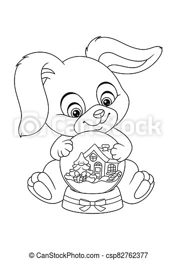 christmas bunny with snow globe coloring canstock image csp82762377 school supplies kits coloring pages Snow Globe Coloring Page
