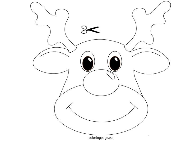 christmas craft rudolph mask coloring printable merry reindeer snow color by number slime coloring pages Reindeer Face Coloring Page