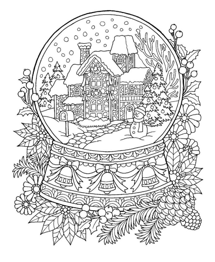 christmas snow globe coloring sheets snowglobe dragon breathing fire unique gifts for coloring pages Snowglobe Coloring Page