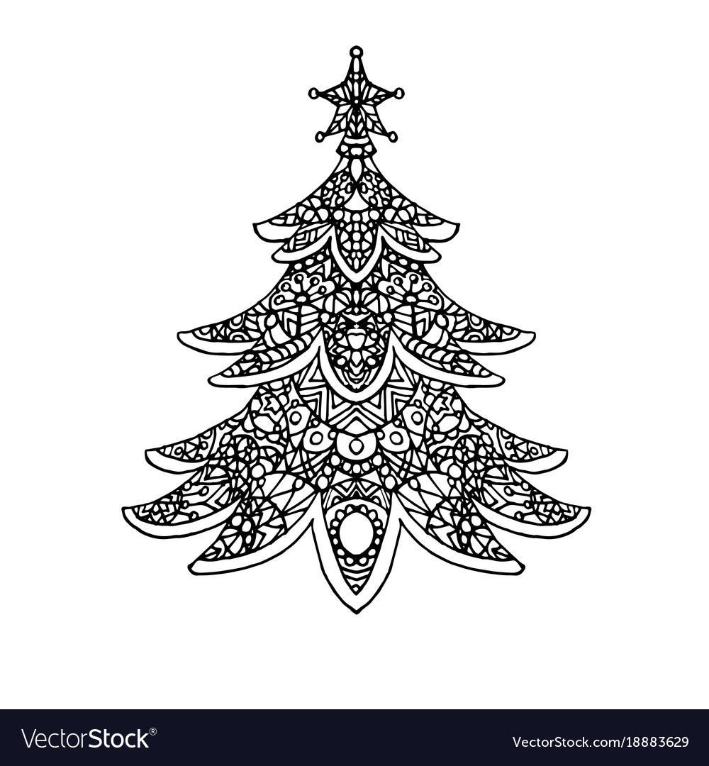 christmas tree coloring royalty free vector image draw and color thanksgiving outlines coloring pages Christmas Tree Coloring Page Free