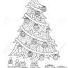 christmas tree presents and ornaments drawing for cards coloring book vector illustration coloring pages Christmas Tree With Presents Coloring Page