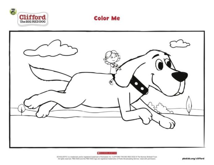 clifford and emily elizabeth coloring pbs kids for parents cliffordemily hero color art coloring pages Clifford Coloring Page