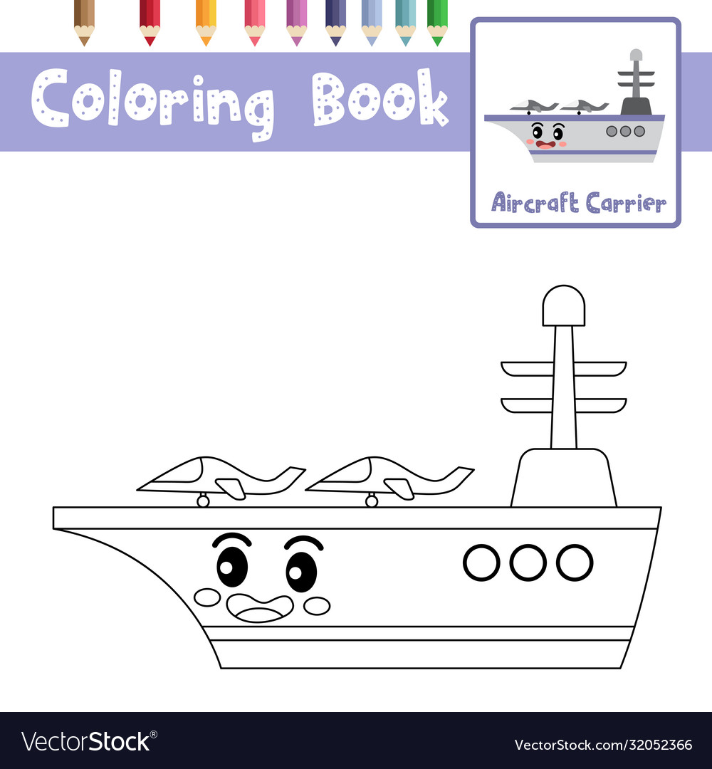 coloring aircraft carrier character vector image by number aztec mosaic animal book for coloring pages Aircraft Carrier Coloring Page