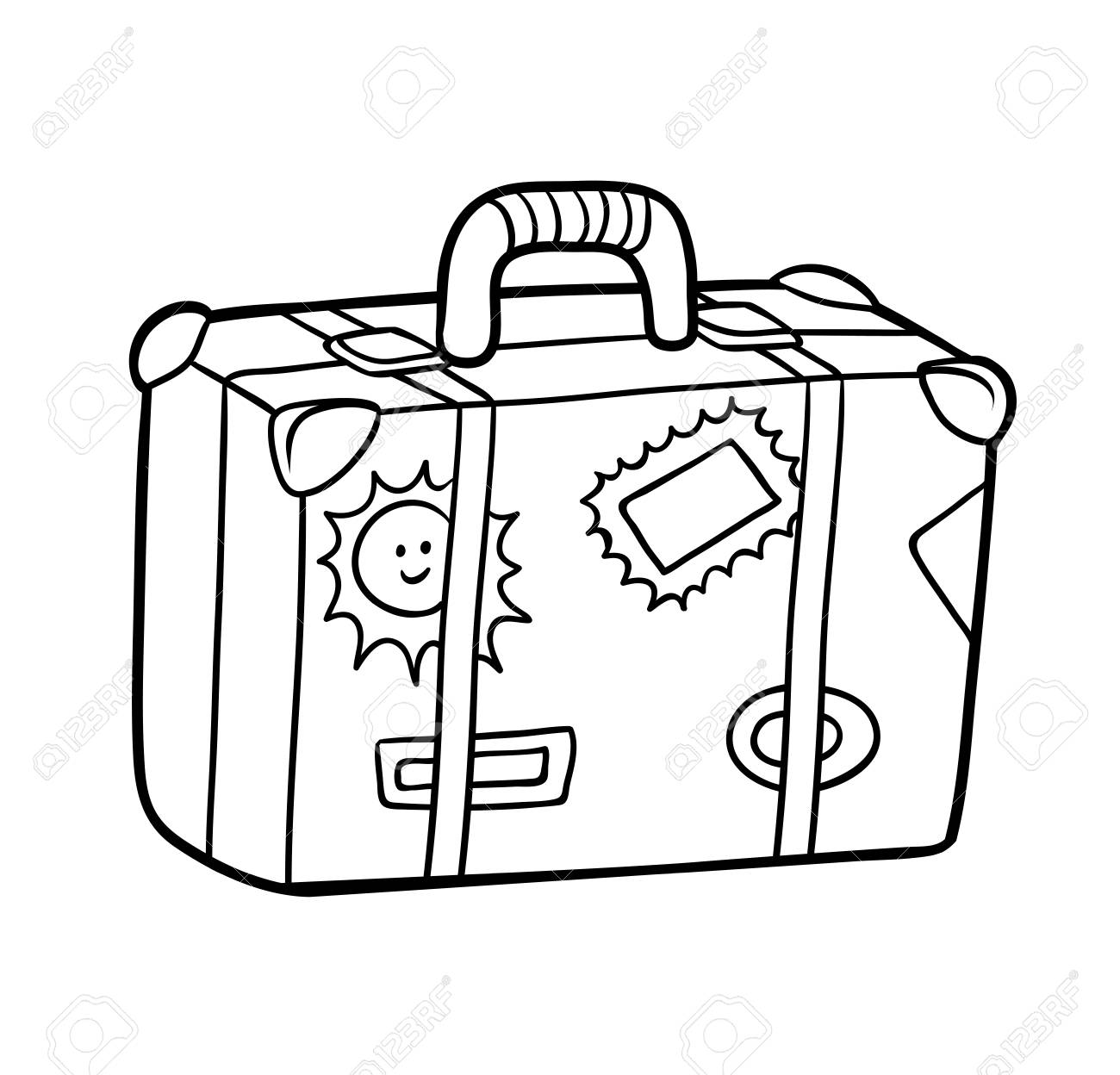 coloring book for children suitcase with stickers royalty free vectors and stock coloring pages Suitcase Coloring Page