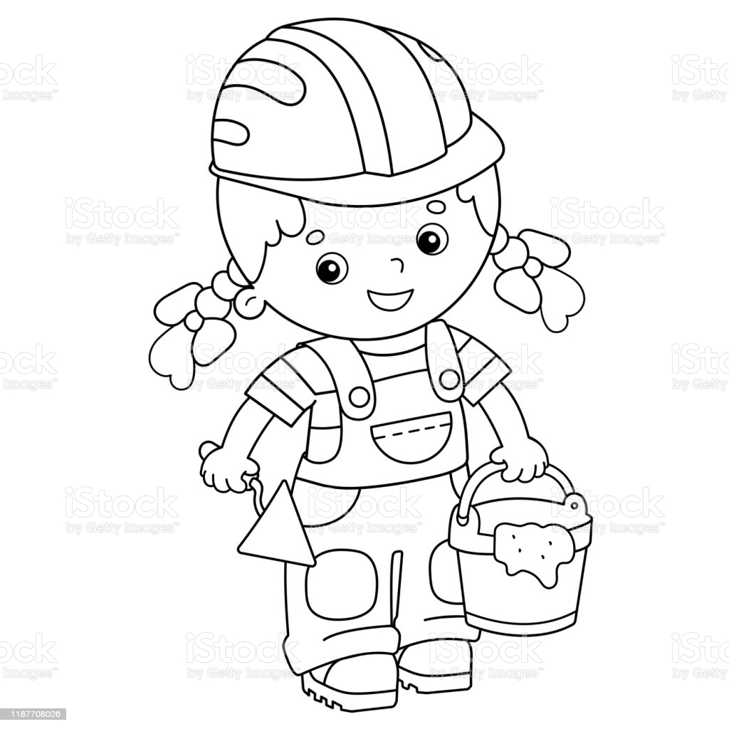 coloring book with kids and bricks illustrations clip art construction worker princess coloring pages Construction Worker Coloring Page