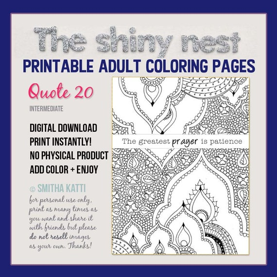 coloring for adults quotes prayer patience quote adult etsy il 570xn j77z sugar skulls coloring pages Adult Coloring Page Quote