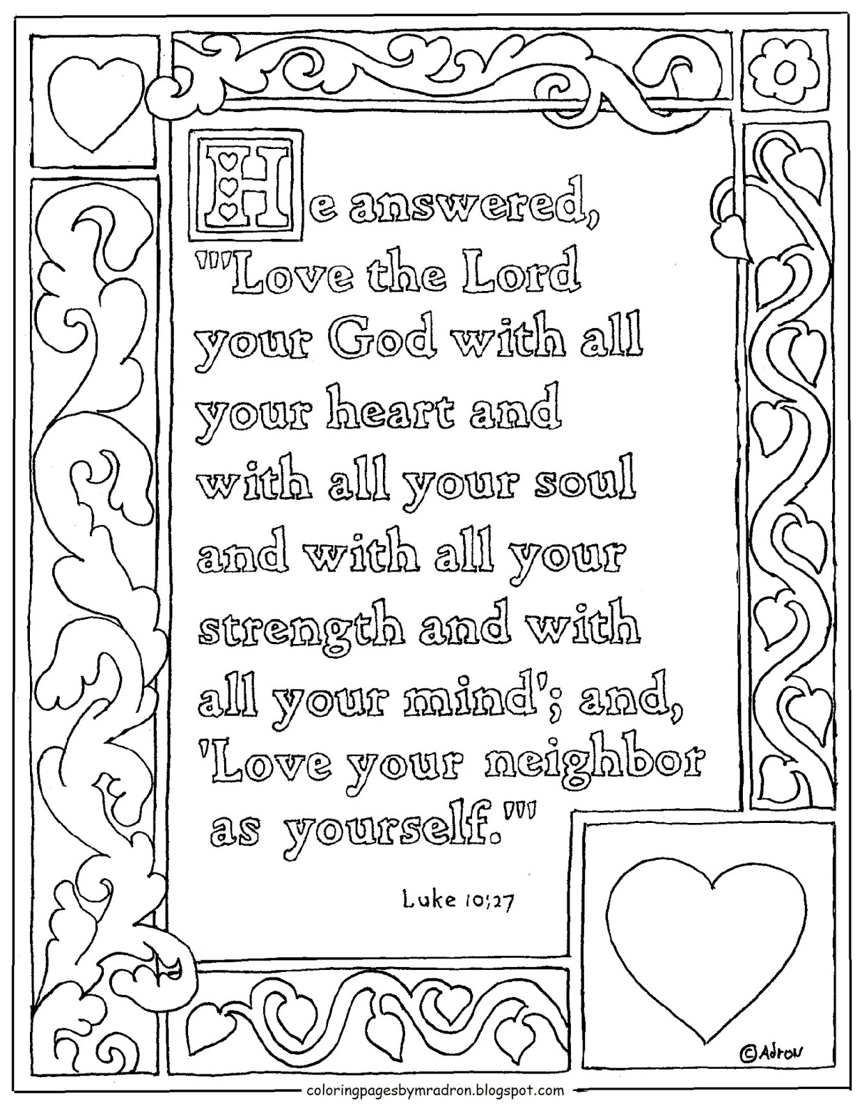 coloring for kids by mr adron luke printable with all your heart the lord landscapes to coloring pages Love The Lord Your God Coloring Page