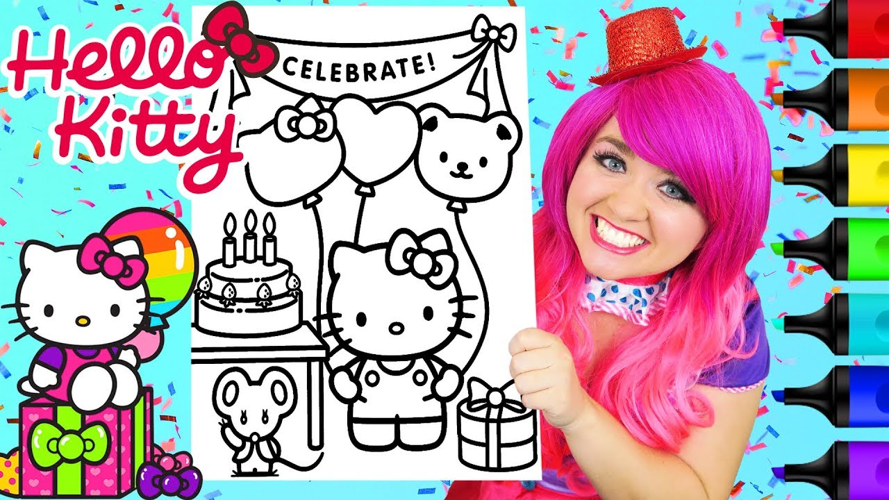 coloring hello kitty birthday book prismacolor colored paint markers kimmi the clown soft coloring pages Hello Kitty Birthday Coloring Page