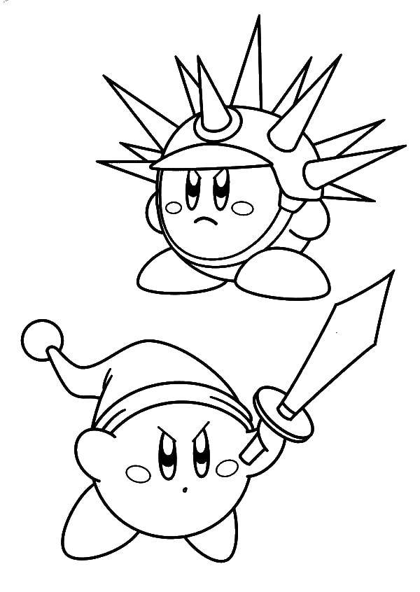 coloring kirby in armor and with sword print kirbi dospehe mechem art lesson plans for coloring pages Kirby Coloring Page