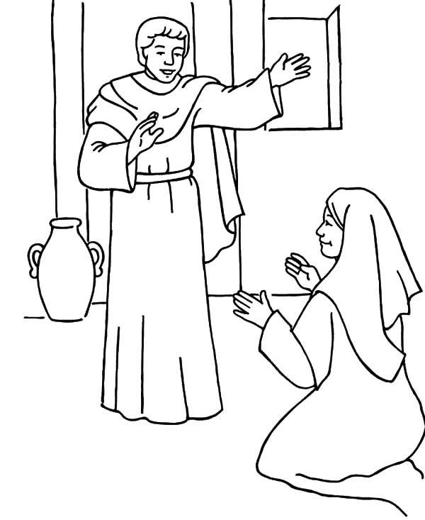coloring of mary and gabriel angel visits the appears to give her blessing diy halloween coloring pages Angel Visits Mary Coloring Page