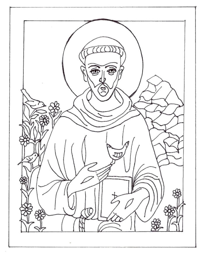 coloring of st francis assisi in honor his for fall crayons out couch natural objects coloring pages St Francis Of Assisi Coloring Page