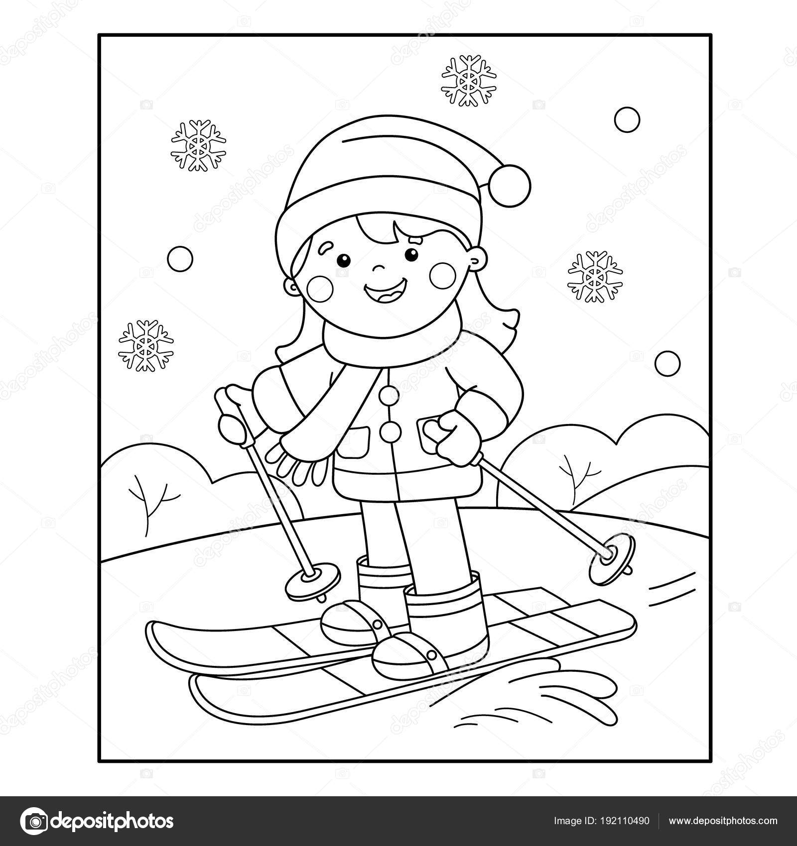 coloring outline of girl skiing winter sports book for kids stock vector image by oleon17 coloring pages Skiing Coloring Page
