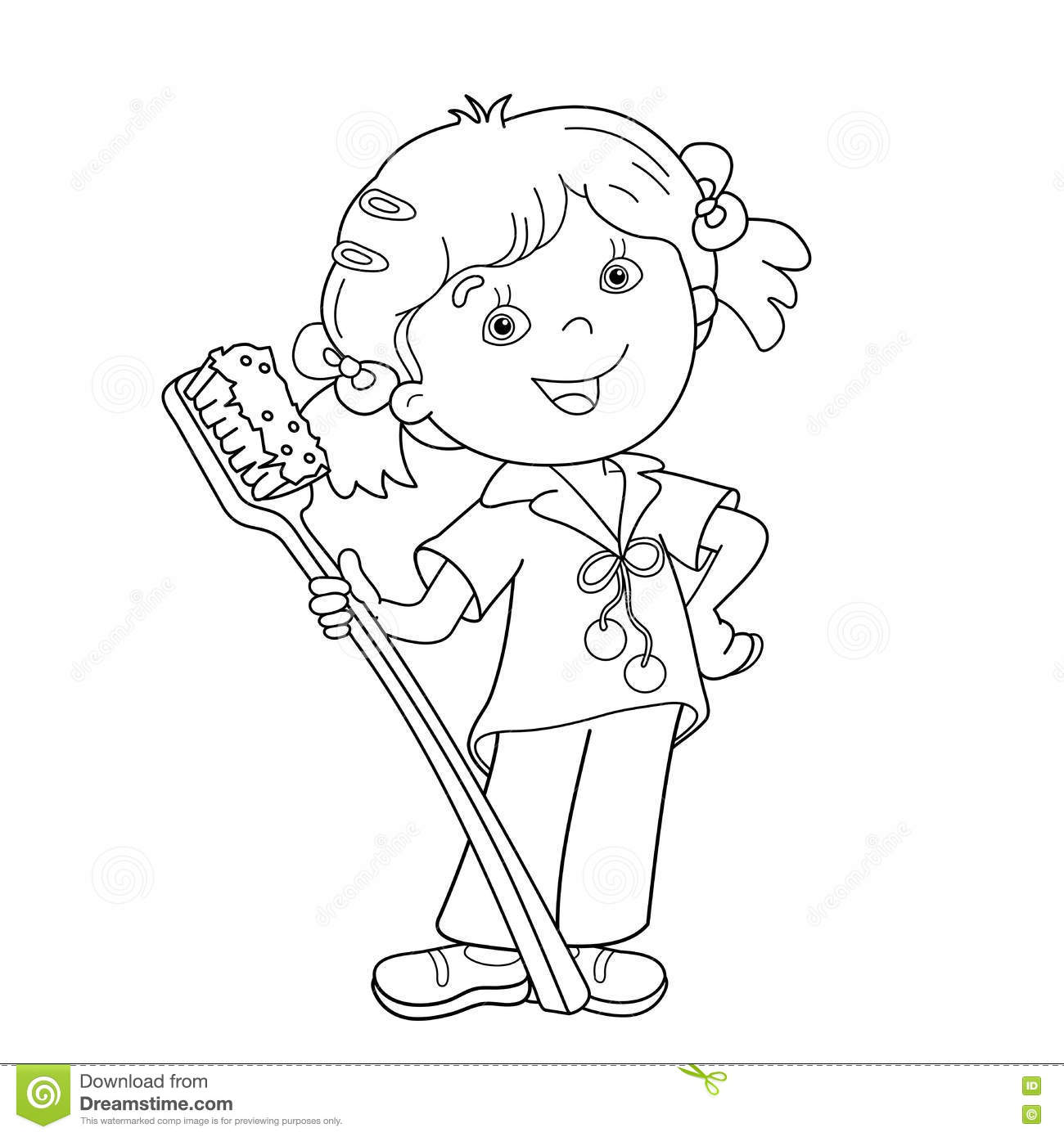 coloring outline of girl with toothbrush stock vector illustration child care tooth brush coloring pages Tooth Brush Coloring Page