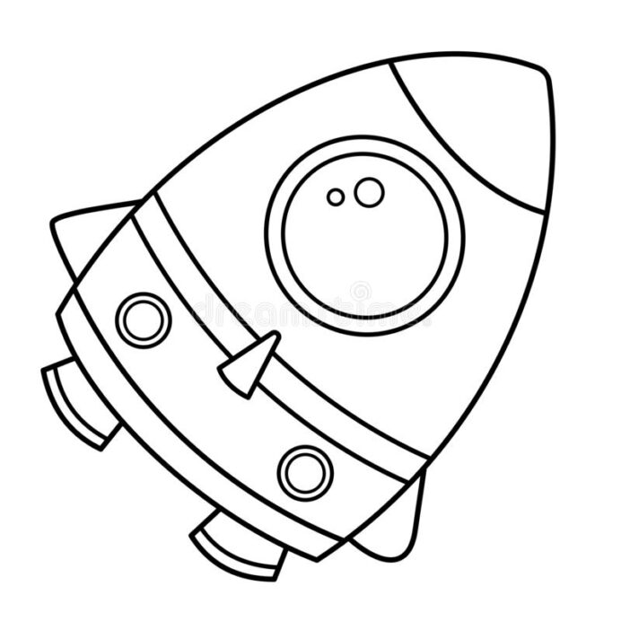 coloring outline of rocket space book for kids stock vector illustration porthole galaxy coloring pages Rocket Coloring Page