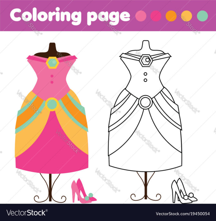 coloring with fashion dress and shoes vector image baby animal sheets mash box images coloring pages Coloring Page Dress