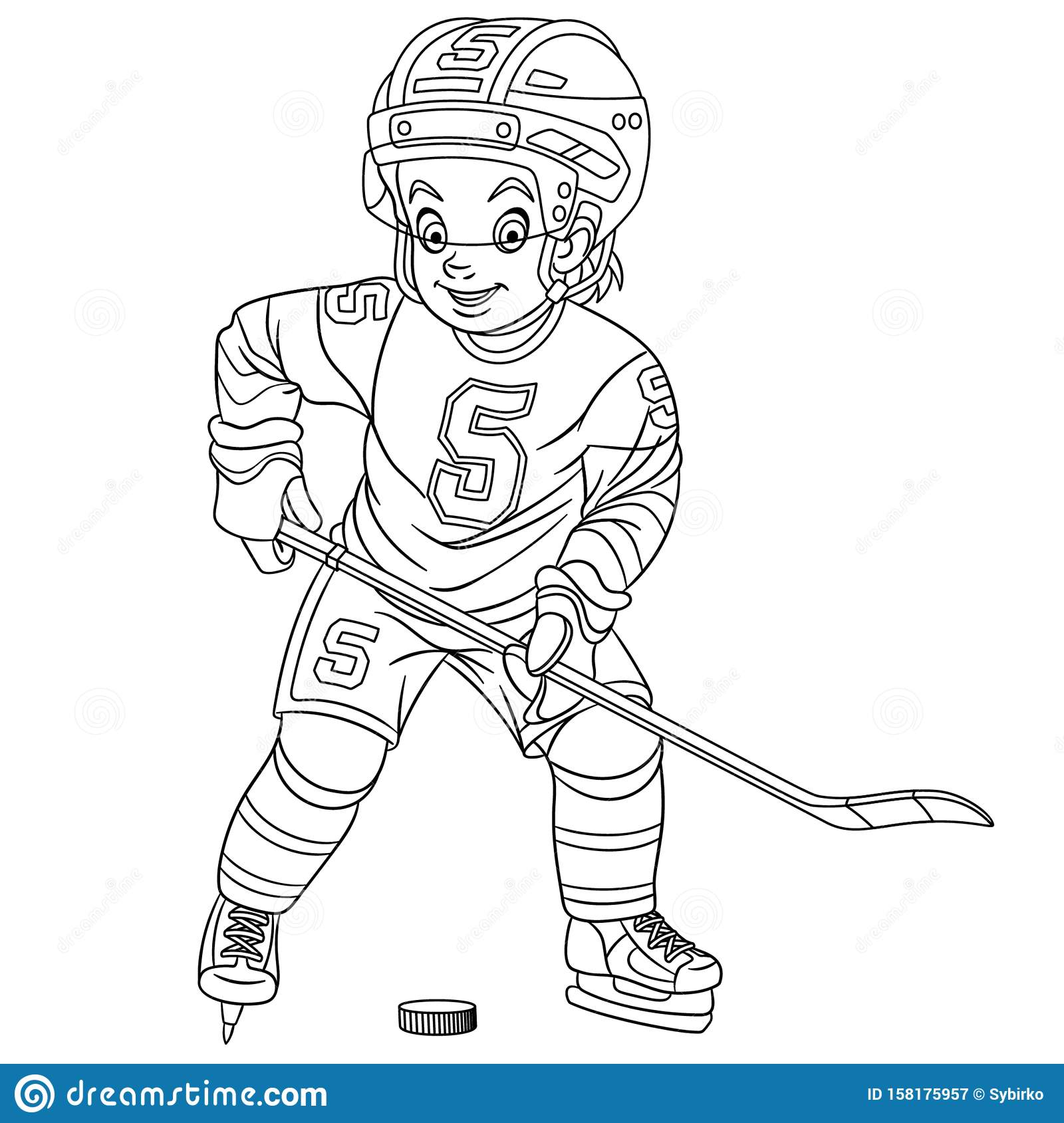 coloring with hockey player stock vector illustration of comic fast colouring cute boy coloring pages Hockey Player Coloring Page