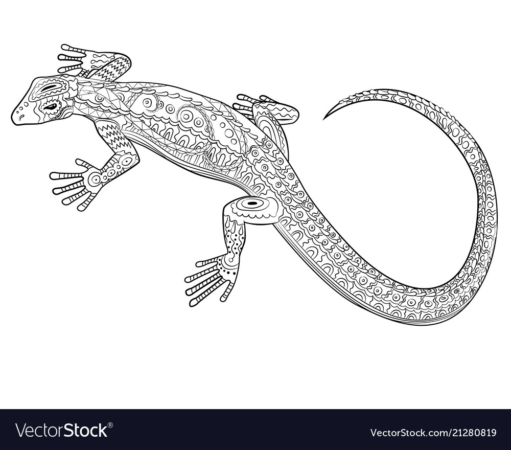 coloring with lizard in entangle style vector image frida kahlo art lesson tracing paper coloring pages Lizard Coloring Page