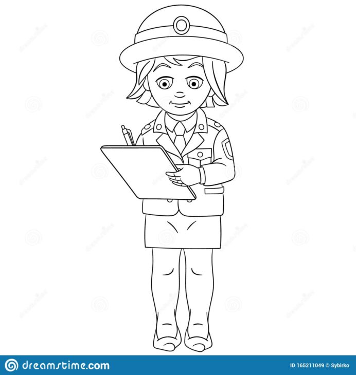 coloring with police woman stock vector illustration of clipart drawn writing report coloring pages Coloring Page Police
