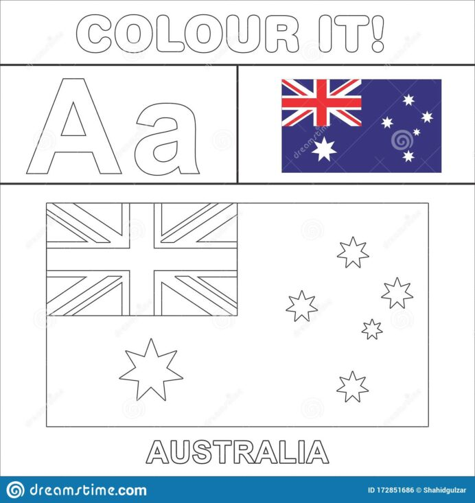 colour it vector kids stuff coloring country start from english latter flag illustration coloring pages Australia Coloring Page