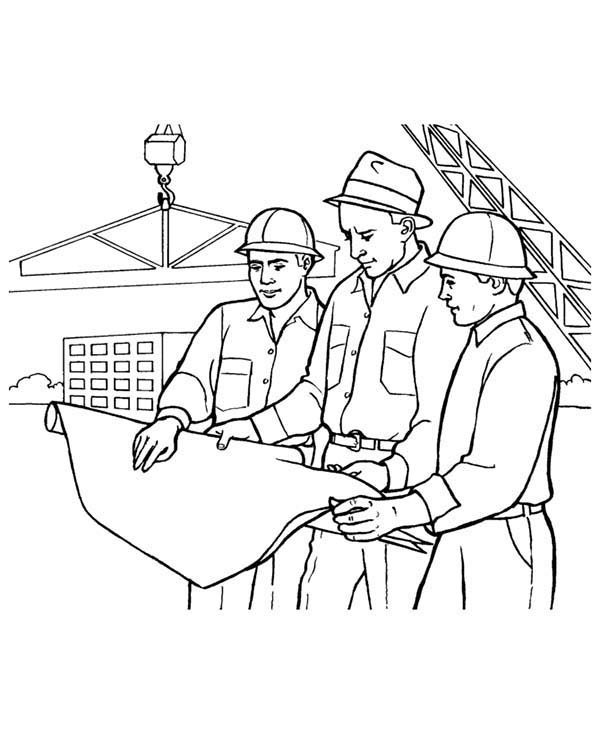 construction worker looking at building coloring sun minnie mouse drawing to print father coloring pages Construction Worker Coloring Page