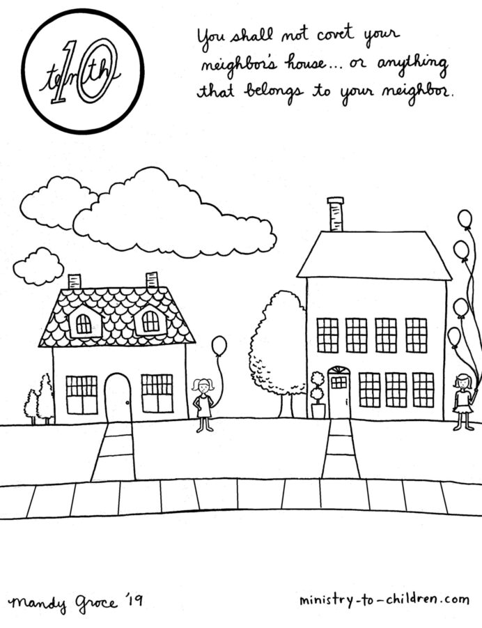 content lesson in the ten commandments for kids ministry to children your neighbor coloring pages Love Your Neighbor Coloring Page