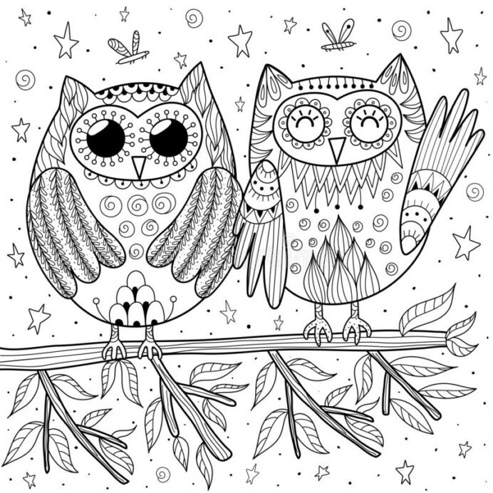 couple of funny owls sitting on the coloring stock vector illustration baby mother adults coloring pages Funny Coloring Page