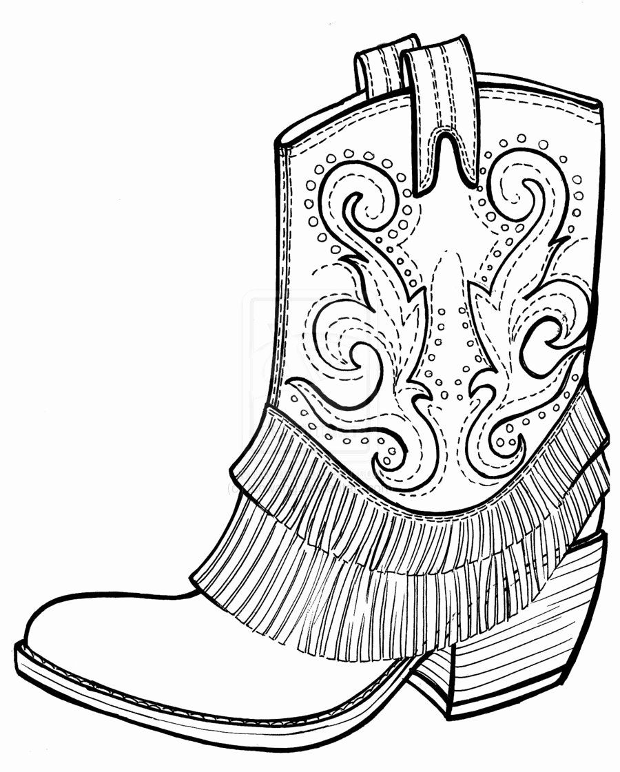 cowboy boot coloring inspirational free of boots cowgirl black glue and watercolor old coloring pages Boots Coloring Page