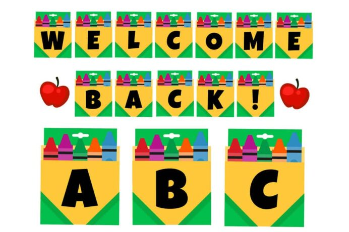 crayons letter free printable mrs merry welcome back school to erry product making custom coloring pages Welcome Back Banner Printable Free