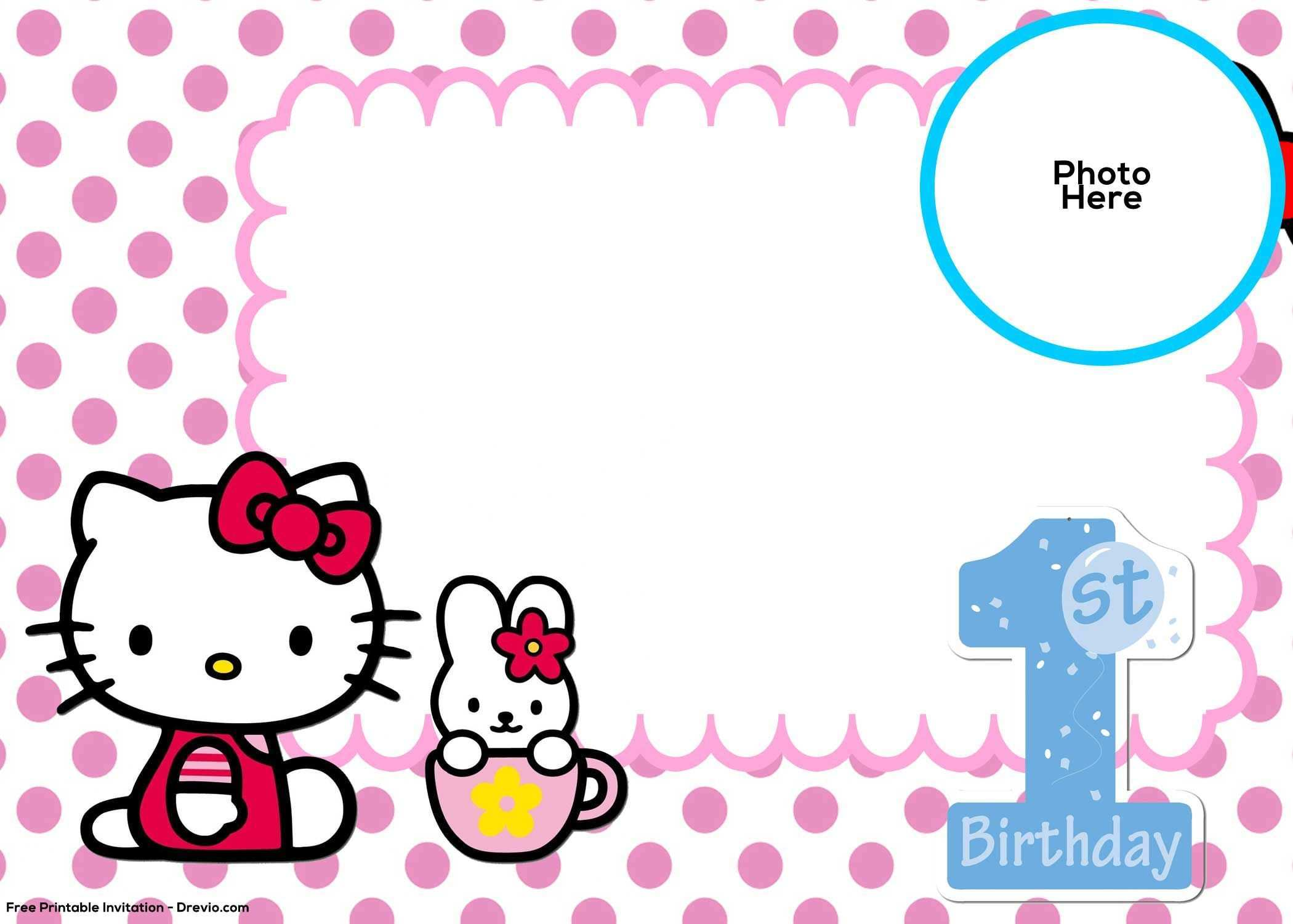 create hello kitty birthday invitation template free photo for cards design templates coloring pages Hello Kitty Birthday Invitations Free Printable