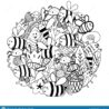 cute bees in the flowers circle shape pattern funny insects coloring stock vector coloring pages Funny Coloring Page
