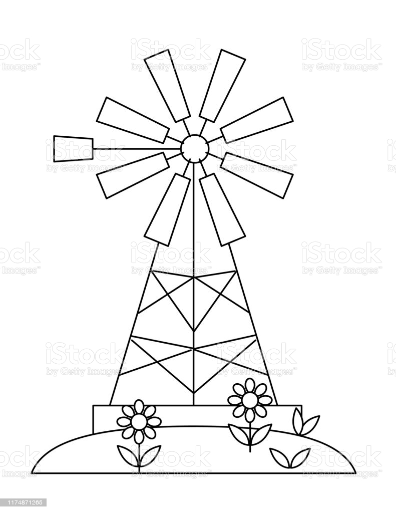 cute childrens farm coloring book windmill stock illustration image now papper pin wheel coloring pages Windmill Coloring Page