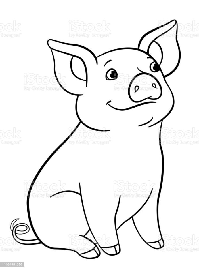 cute pig coloring illustrations clip art year of the sheets with numbers mermaid crayola coloring pages Year Of The Pig Coloring Page