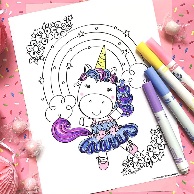 cute unicorn coloring and printables directions rainbow jen goode color unicorns buddy coloring pages Cute Unicorn Coloring Page