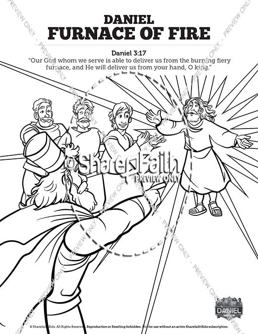 daniel the furnace of fire sunday school coloring sharefaith kids fiery mouseover3 coloring pages Fiery Furnace Coloring Page