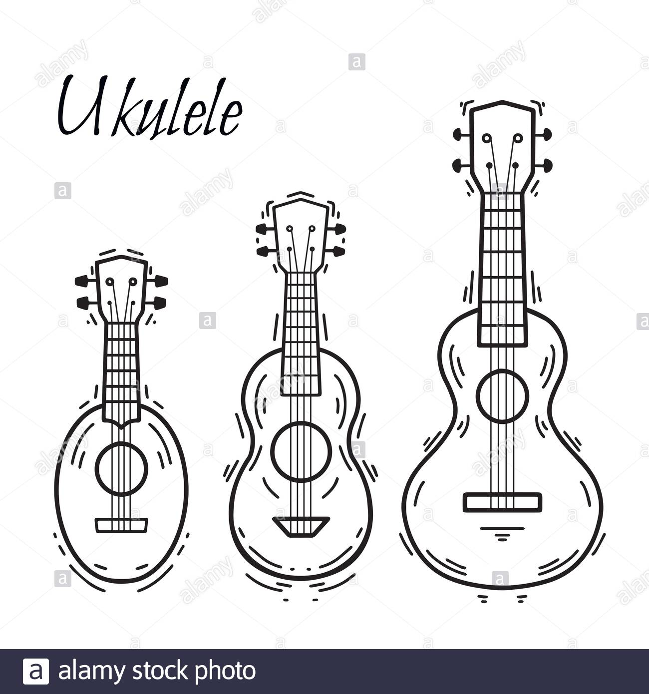 decorative ukulele high resolution stock photography and images coloring set of contour coloring pages Ukulele Coloring Page